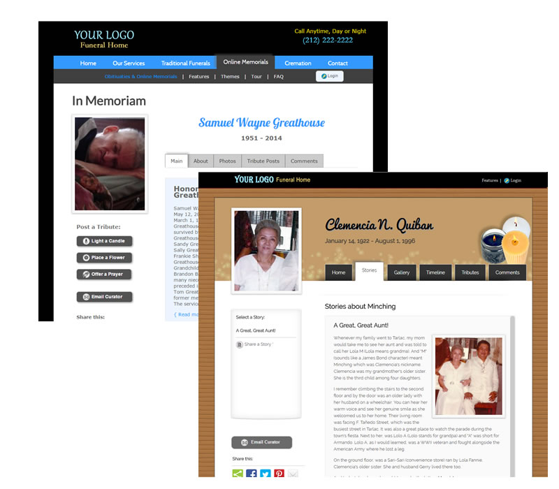 Custom Online Memorial for Funeral Homes